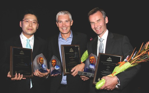 Steve Ham, Suprema, Fredrik Thor, Axis and Yngve Wold from Idteq received the first prizes when the Detektor International Award Ceremony was held on wednesday night.