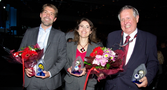The winners: Björn Adméus from Sony, Helene Doret from Morpho and Björn Gysell from Alarmtech.