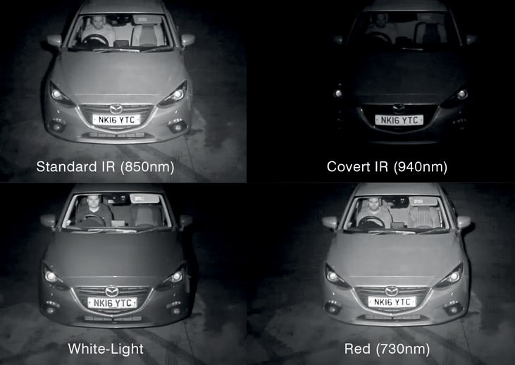 The driver recognition test revealed that three out of four wavelength examples de-livered fairly good level of details inside the vehicle. However, the Covert IR (940nm) delivered significantly worse images.