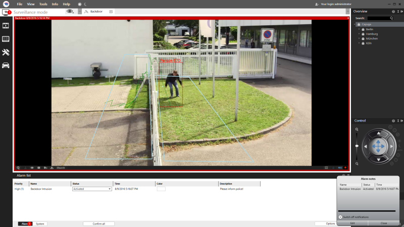 Seetec analytics can automatically detect events such as trespassing or climbing over a fence on the basis of different analysis scenarios.