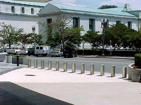 Delta barriers protect the US Dept State in Washington D.C