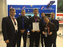 The Mobotix team collecting awards at the All-Over-IP show in Moscow last month