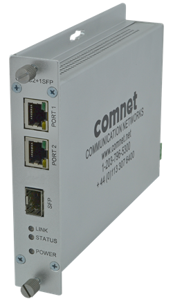 The CNMC2+1SFP/M features two TX input ports and a single SFP port for the users' choice of fibre type, distance, connector type and speed.