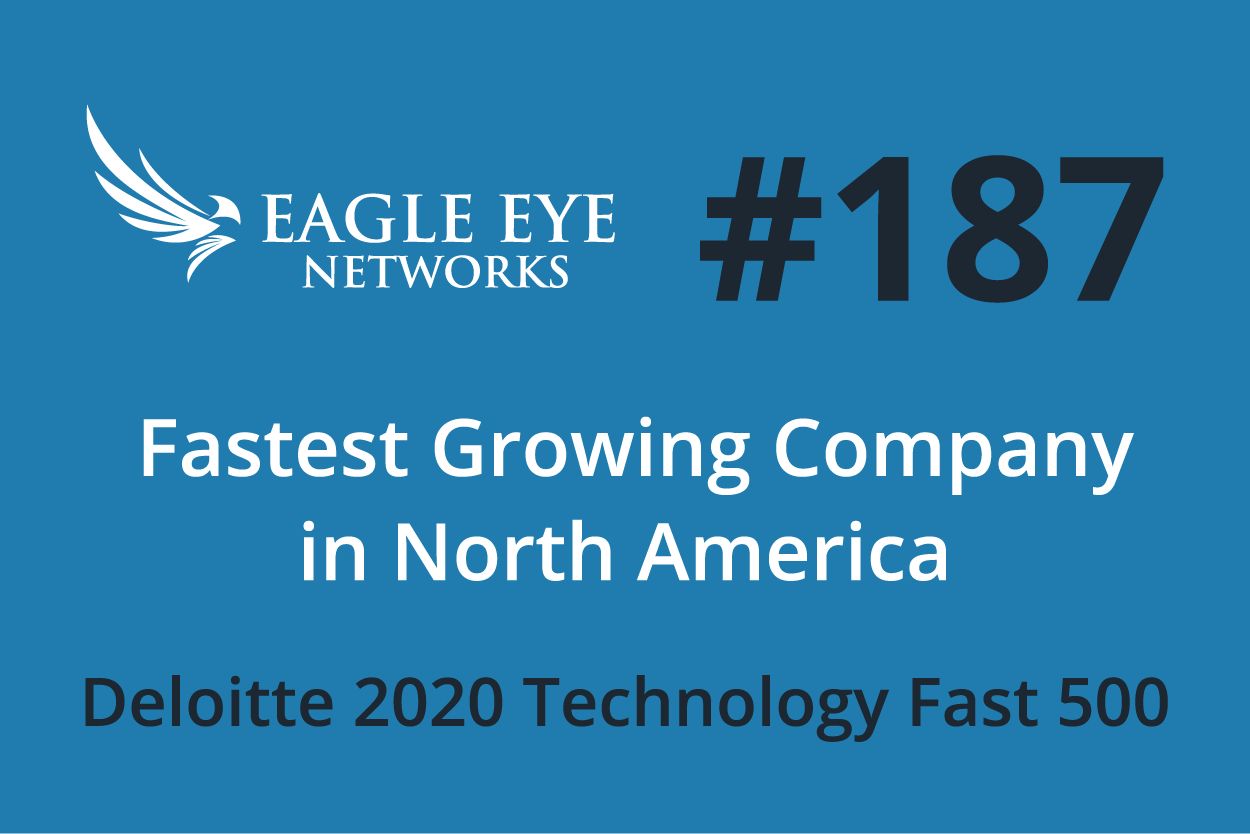 This year Eagle Eye Networks ranks at 187 in the Deloitte Technology Fast 500, from position number 133 in 2019.