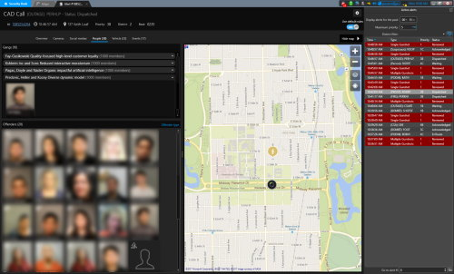 Genetec Citigraf shows the known offenders and gang areas within the vicinity of the location of an event