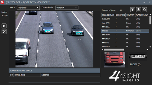 Veracity V2 ANPR software in action