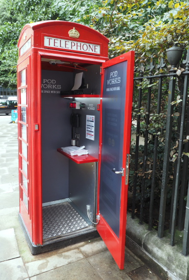 Each red phone box Pod typically includes Wifi, plug sockets, internet connection, printer, scanner, VOIP phone and free coffee and tea.