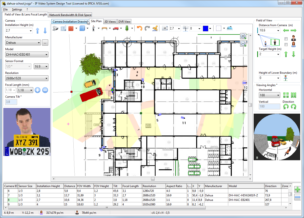 Dahua partners jvsg for optimised surveillance planning for Ip camera design tool