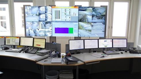 The wall displays the respective distribution systems as well as CCTV images of the critical infrastructure.