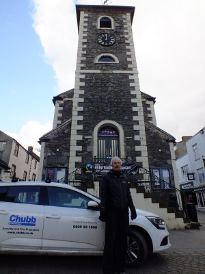 Keswick's Deputy Mayor Cllr David Burn, outside Moot Hall, Keswick's Market Square