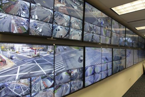 Hartford Police Department's Real-Time Crime Center and Data Intelligence Center. which includes a Milestone Xprotect Smart Wall with thirty 55-inch, 4K video monitors.