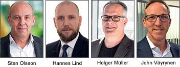 Paneldeltagare Sten Olsson, affärsutvecklingschef, Addsecure, Hannes Lind, tjänsteutvecklare, SOS Alarm, Holger Müller, Country Sales Manager, Vanderbilt och John Väyrynen, operativ chef, Teletec.